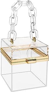 Frauen Acryl Clutch Geldbörse Klar Quadratische Box Transparent Stadion Zugelassene Tasche Abend Party Abendessen Handtasche