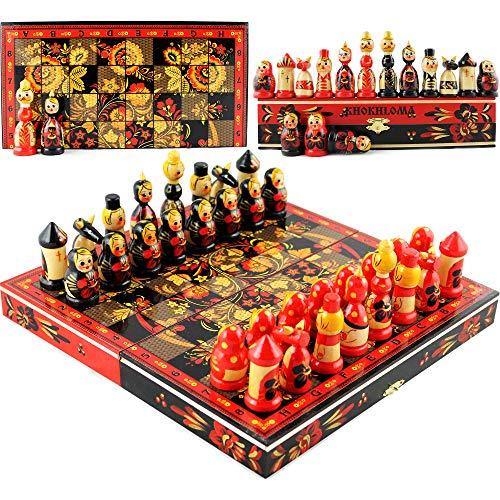 Chess Set Board Game Russian Dolls Set - Themed Chess Russian Folk Art...