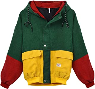 Kulywon Women Long Sleeve Corduroy Patchwork Oversize Jacket Windbreaker Coat Overcoat
