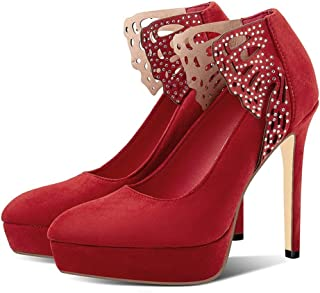 Platform Rhinestone High Heels For Banquet Wedding Dress Daily (Color : Red, Size : 41)