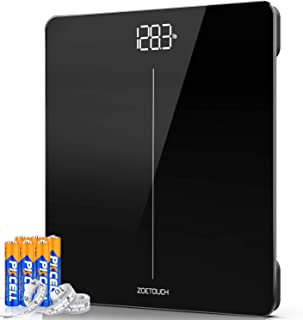 ZOETOUCH Digital Body Weight Bathroom Scale, Weighing Scale with Body Tape Measure and 6 Batteries, Step-On Technology, 400 Pounds