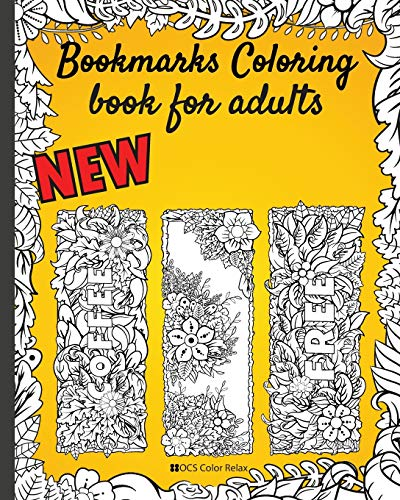 """Bookmarks coloring book for adults: Flowers with words-Pretty bookmarks for women and Seniors Who Love Reading - 8x10"""" 50 bookmarks nice gift"""