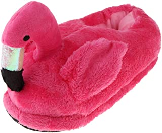 F Fityle Lovely 3D Flamingo Warm Slippers Fluffy Foot Warmer Cotton Plush Home Winter Shoes Holiday Gifts