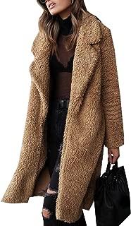 ZXFHZS Womens Fuzzy Fleece Lapel Open Front Faux Fur Warm Outwear Jackets Long Cardigan Coats