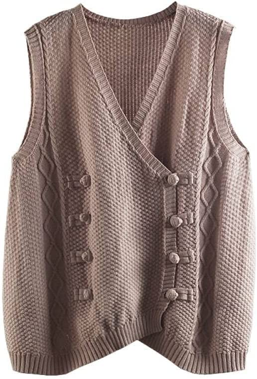 Cropped Sweater,Women'S Knitted Sweater Vest Fashion Loose Vintage Ethnic Style Double Row Coil Buckle Cardigan Sleeveless Pullovers Jumpers Vintage Knitwear Tank Top Autumn Winter ,Khaki