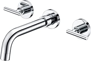 SUMERAIN Wall Mount Bathroom Sink Faucet Two Handles Lavatory Faucet