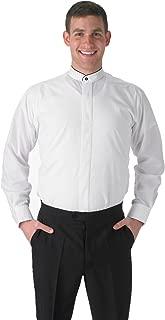 Elaine Karen Premium Men's Dress Shirt Banded French Mandarin Collar with Black Piping