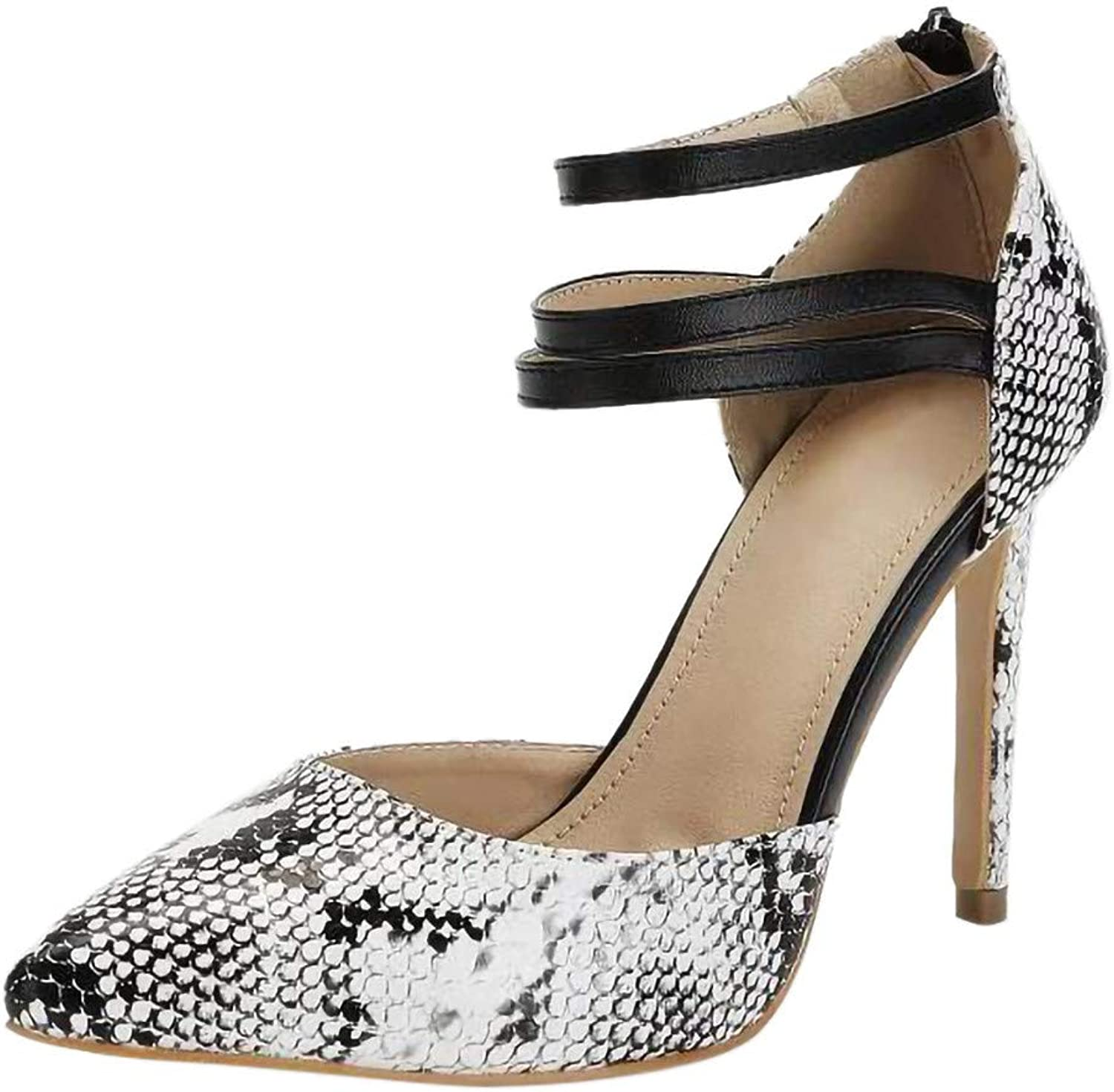 Theshy Sexy Women Pointed Toe Snake Skin Pattern Foot Ring High Heel shoes Pumps Sandals