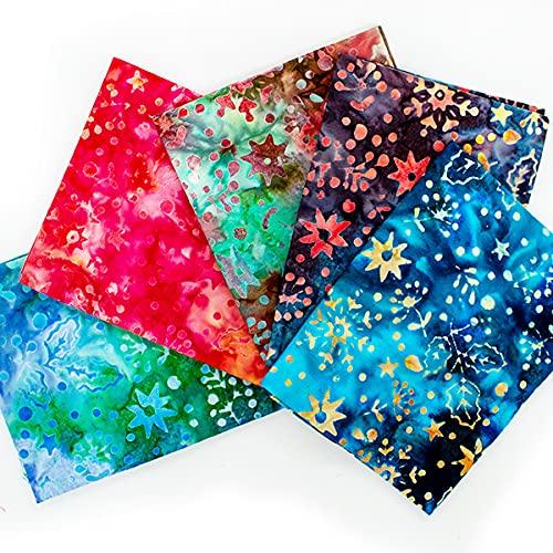 BS-FAH-FPJ0148 Premium Batik - Tela para manualidades 100% algodón, 5 unidades, alta calidad BS-FAH-FPJ-0148