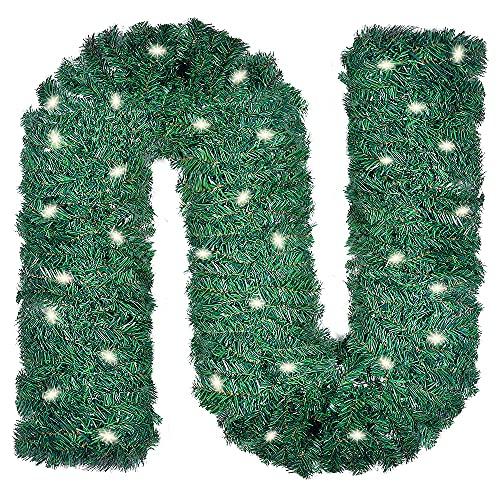 LessMo 500CM Ghirlanda di Natale, Ghirlanda Decorata con Luci a LED, Vite in Rattan Artificiale Ghirlanda di Foglie Realistiche per Camini Scala Pianura Verde Albero di Natale Artificiale Giardino