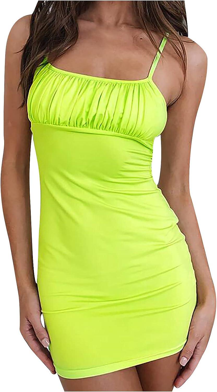EZ Tuxedo Women's Sexy Tube Top Pleated Bodycon Dress Solid Spaghetti Strap Backless Club Party Mini Bag Hip Dress