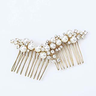 Asooll Gold Wedding Pearl Hair Comb Bride Crystal Hair Pieces Bridal Hair Accessories for Women and Girls.(Set of 2)