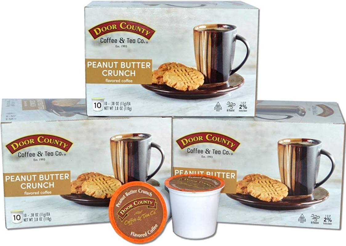 Door County Coffee Flavored Coffee Single Serve Cups For Keurig Brewers Peanut Butter Crunch 30 Count