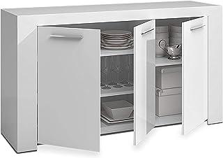 Mobelcenter – Mueble Aparador Moderno Ambit 3 Puertas– Buffet Moderno – Armario Auxiliar Comedor – Acabado Color Blanco Ar...