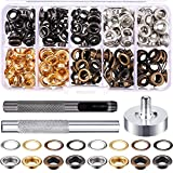 Grommet Kit 200 Sets Grommets Eyelets with 3 Pieces Install Tool Kit, 4 Colors (1/4 Inch Inside Diameter)