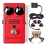 MXR M102 Dyna Comp Compressor Pedal Bundle with Blucoil Slim 9V 670mA Power Supply AC Adapter, 2-Pack of Blucoil Pedal Patch Cables, and 4-Pack of Celluloid Guitar Picks
