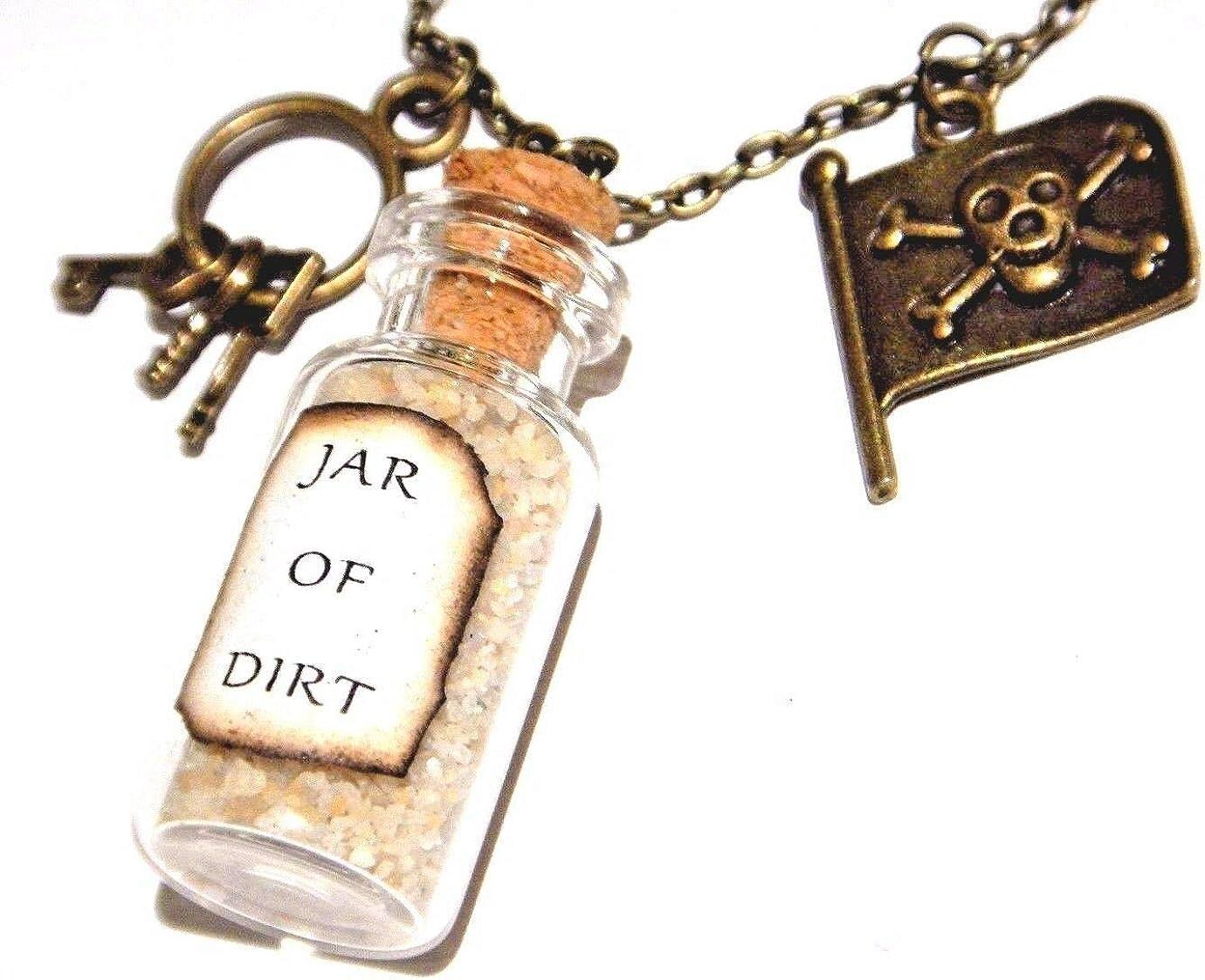 Low Philadelphia Mall price Bronze Pirate Charm Necklace jar of Roger Jolly Dirt Keys Skull