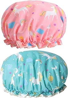 Waterproof Shower Cap, Reusable Shower Caps, Double-Layer Bath Cap Elastic Band Shower Hat Waterproof for Women Shower Spa...