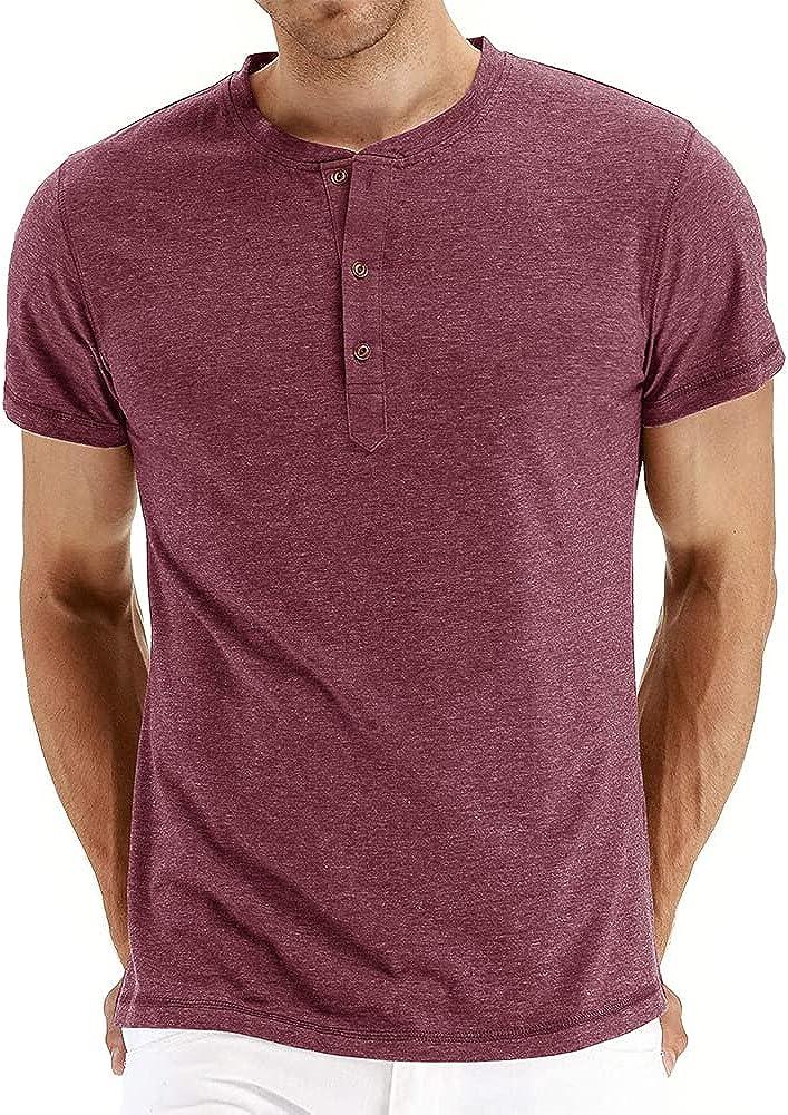 ANNANONER Men's Henley T-Shirts Short El Paso Mall Swea Same day shipping 3-Buttons Sleeve