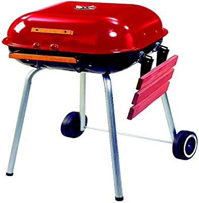 Americana Swinger Charcoal Grill with One Side Table, Red