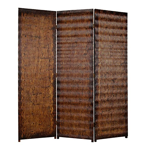 Best Buy! Benjara Dual Tone 3 Panel Wooden Foldable Room Divider with Wavy Design, Brown