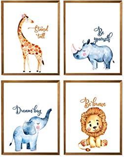 Safari Nursery Print, Bedroom Bathroom Decor, Giraffe Lion Rhino Elephants Print, Minimalist Watercolor Poster, Jungle Animal Art - Set of 4-8x10 - Unframed