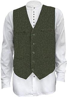 Men's Irish Full Back Herringbone Wool Blend Tweed Vest in 3 Traditional Color Choices