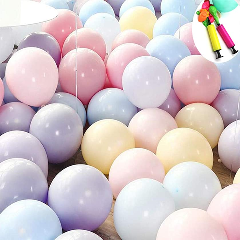 100pcs Assorted Macaron Candy Colored Balloons 10 Inches Pastel Latex Balloons Arch Garland Kit for Wedding Kids Birthday Baby Shower Party Christmas Decorations