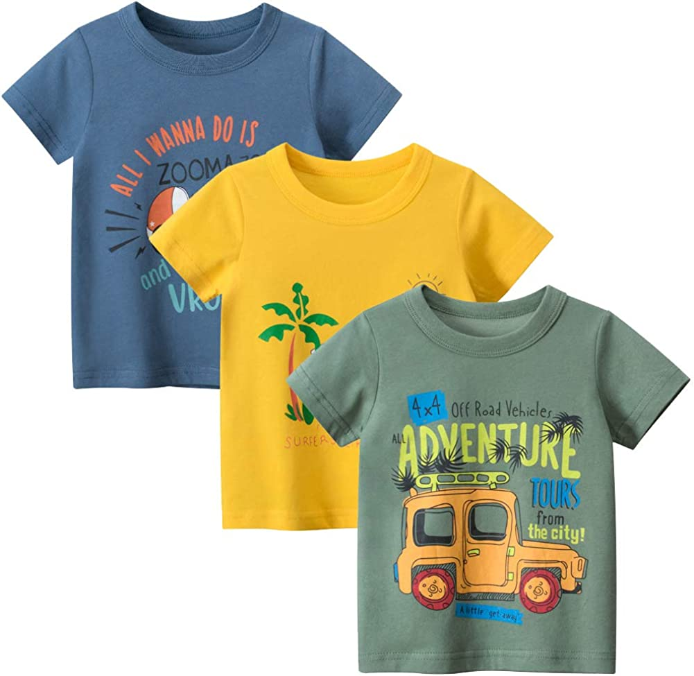 Guozyun Baby Boy's Toddlers T-Shirt Cotton Tops Tees Short Sleeve Shirt Undershirt for Infant Baby Kids