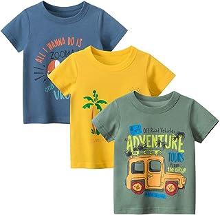 Guozyun Baby T-Shirt Infant Toddler Baby Boy's Short Sleeve Boys Cotton Tees Kids Shirt Undershirt