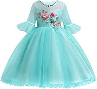 Surprise S Girl Flare Sleeves Embroidered Gauze Princess Dress Neckline Beaded Child's Wedding Party Outfits