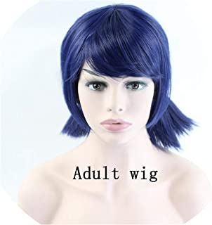 Peluca Marinette Girls Cosplay Double Ponytail Braids Short Straight Wig Blue Hair 38Cm,Multi Color,14Inches
