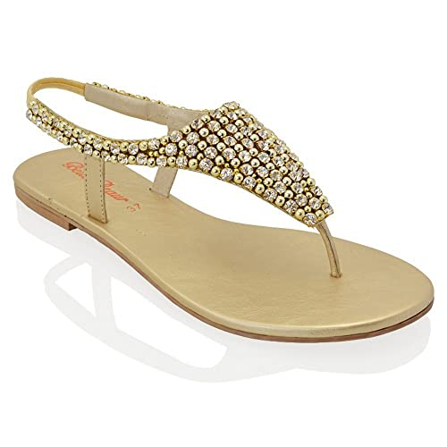 83f24080fa06c0 ESSEX GLAM LADIES FLAT DIAMANTE TOE POST SLINGBACK WOMENS PEARL HOLIDAY  DRESSY PARTY SANDALS SIZE 3