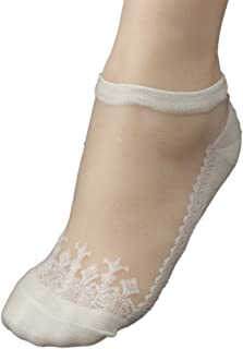 Charberry Womens Lace Crystal Stockings Ultrathin Transparent Beautiful Crystal Elastic Short Socks