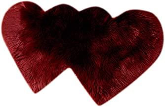 2pcs Heart Shaped Faux Sheepskin Sofa Cover Seat Pad Shaggy Area Rugs for Bedroom Floor - Wine Red