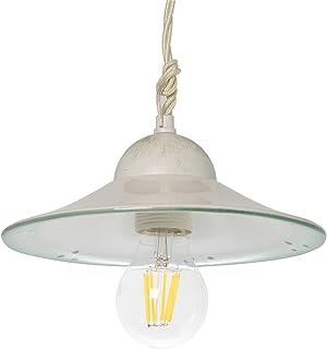 VANNI LAMPADARI - Lampada A Sospensione Piatto Liscio Diametro 20 In Ceramica Decorata A Mano Disponibile In 5 Finiture