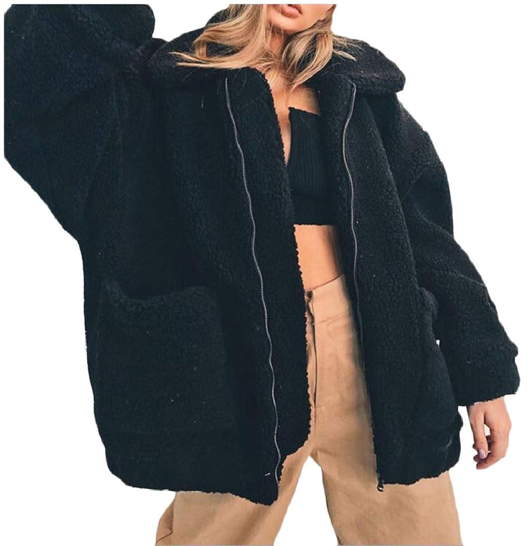 maweisong 女性ファッション冬暖かいジッパー偽毛皮ルースウールコートジャケットオーバーコート