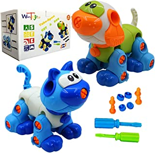 WenToyce Take Apart Toys for Kids, Creative DIY Building Cat Dog Blocks Puzzle Set with Screwdriver, Interlocking Animal Model Builds Problem Solving Motor Skill, STEM Educational Construction Kit