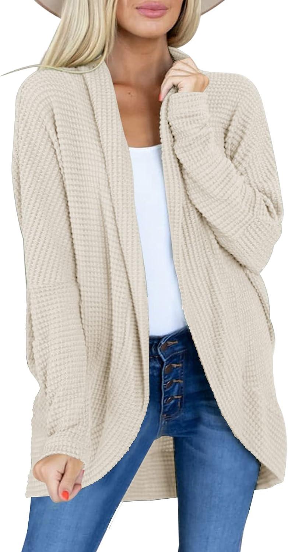 Modershe Womens Long Sleeve Open Front Lightweight Cardigan Waffle Knit Sweaters Coat Soft