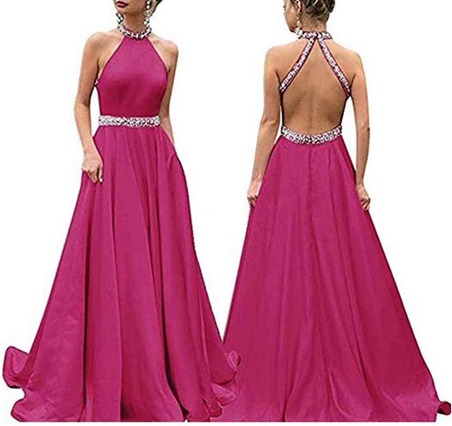 Aline Halter Beaded Satin Backless Evening Dresses with Pockets