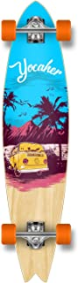 Yocaher New VW Vibe Beach Series Longboard Complete Cruiser and Decks Available for All Shapes (Complete-Fishtail-Blue)