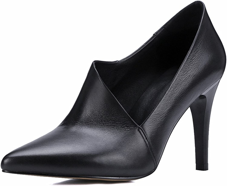 Nine Seven Genuine Leather Women's Pointed Toe Sexy Stiletto Heel Slip On Handmade Pump