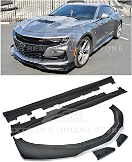 Replacement For 2019-Present Chevrolet Camaro LT LS RS SS Models | ZL1 1LE Style ABS Plastic PRIMER BLACK Front Bumper Lip Splitter With Side Skirt Rocker Panel Pair
