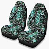 Zerosubsidi 2PC Car Seat Covers Muddy Girl Camo Wildfire Orange Camouflage Automobile Front Saddle Blanket Comfort Universal Fit for Car SUV Truck (white6, OneSize)