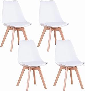 GrandCA Home Lot de 4 chaises, Chaise de Salle à Manger en PU avec Pieds en Bois de hêtre, Chaise de Style Nordique, adapt...