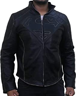 Man of Steel Superman Distressed Men's Real Leather Jacket (Black, Replica) - Superman