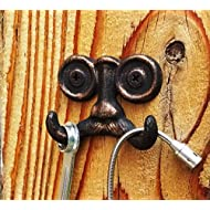 Decorative Wall Hook Mustache Made of Cast Iron Decorative Key Hook or Wall Mounted Coat Hanger/Double Coat Holder. Perfect for Keys Coats etc. (Antique Copper Finish)