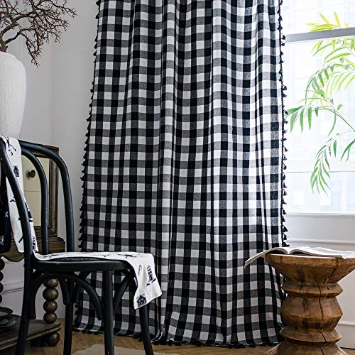 """Lahome Buffalo Check Tassel Window Curtains - Semi Blackout Cotton Blend Farmhouse Style Drapes Rod Pocket Window Curtain Panel with Tassels for Living Room Bedroom (White&Black, 52"""" W x 63"""" L Pair)"""
