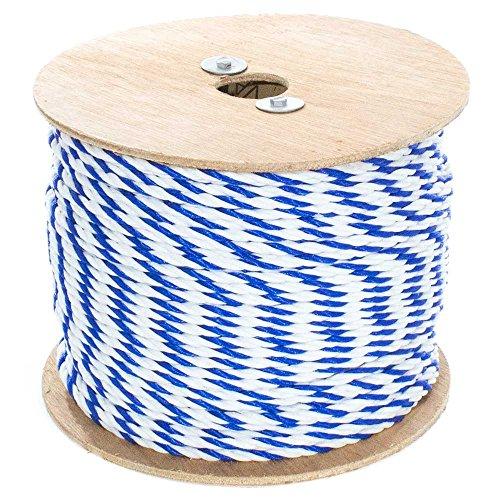 GOLBERG G Cuerda de piscina de polipropileno trenzado – azul y blanco – (1/4 pulgadas x 50 pies) – Cuerda de polipropileno de 3 hilos – Cuerda ligera para uso general