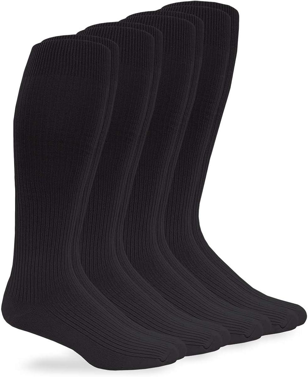 Jefferies Men's Microfiber Nylon Rib Over The Calf Dress Socks 4 Pack